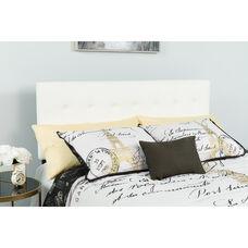 Lennox Tufted Upholstered King Size Headboard in White Vinyl