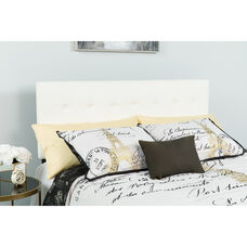 Lennox Tufted Upholstered Queen Size Headboard in White Vinyl
