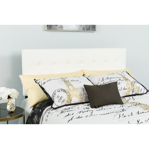 Our Lennox Tufted Upholstered Queen Size Headboard in White Vinyl is on sale now.