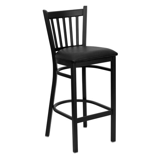 Our Black Vertical Back Metal Restaurant Barstool with Black Vinyl Seat is on sale now.