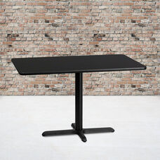 30'' x 48'' Rectangular Black Laminate Table Top with 23.5'' x 29.5'' Table Height Base