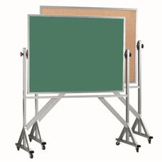Reversible Free Standing Green Chalkboard and Natural Pebble Grain Cork Combination Board with Aluminum Frame