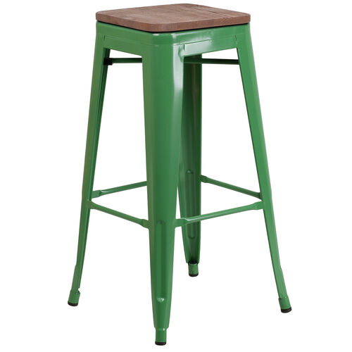 """Our 30"""" High Backless Green Metal Barstool with Square Wood Seat is on sale now."""