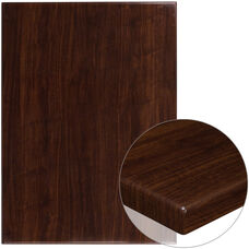 """30"""" x 42"""" Rectangular High-Gloss Walnut Resin Table Top with 2"""" Thick Edge"""