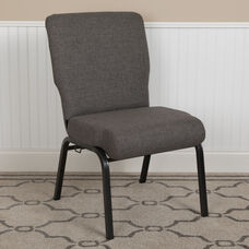 Advantage 20.5 in. Charcoal Gray Molded Foam Church Chair with Book Rack