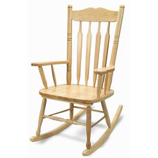 Solid Hardwood Adult Sized Rocking Chair in Clear Non-Toxic Lacquer Finish