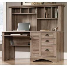 Harbor View 62.25''W Computer Desk with Hutch - Salt Oak