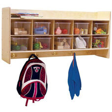 Wall Mountable Locker & Cubby Storage Unit with Tuff-Gloss UV Finish and 10 Clear Cubby Trays - Assembled - 46.75