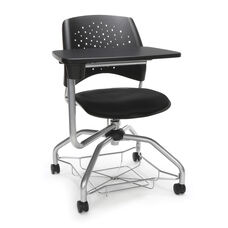 Foresee Series Tablet Stars Student Chair with Removable Fabric Seat Cushion - Black