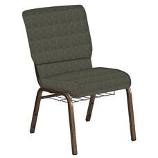 Embroidered 18.5''W Church Chair in Abbey Fern Fabric with Book Rack - Gold Vein Frame