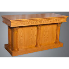 Stained Red Oak Closed Communion Table with Round Fluted Column Accents