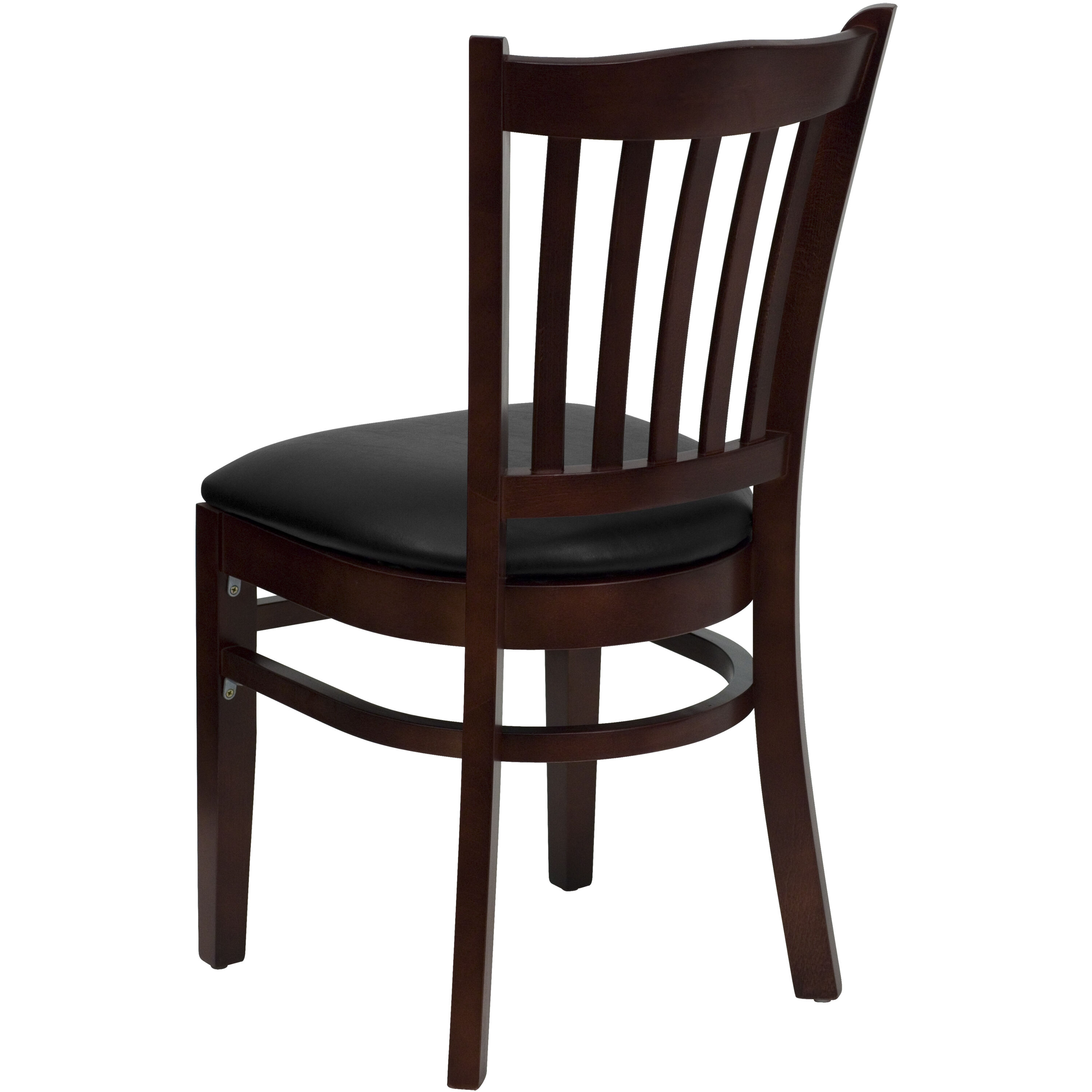 Superieur ... Our Mahogany Finished Vertical Slat Back Wooden Restaurant Chair With  Black Vinyl Seat Is On Sale ...