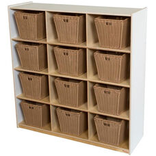 Wooden Cubby Storage Unit with 12 Medium Plastic Wicker Baskets - White - 48
