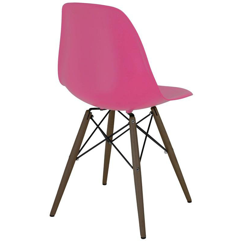 ... Our Trige Lipstick Pink Armless Side Chair With Walnut Wood Base   Set  Of 5 Is ...