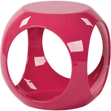 Ave Six Slick Modern Cube Occasional Table with High Gloss Finish - Pink