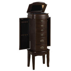 Italian Influenced Transitional Jewelry Armoire - Espresso and Black Lining