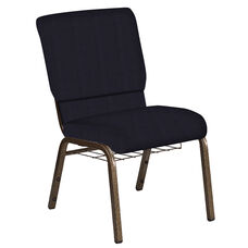 Embroidered 18.5''W Church Chair in Mainframe Blazer Fabric with Book Rack - Gold Vein Frame