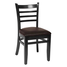 Burlington Black Wood Ladder Back Chair - Vinyl Seat