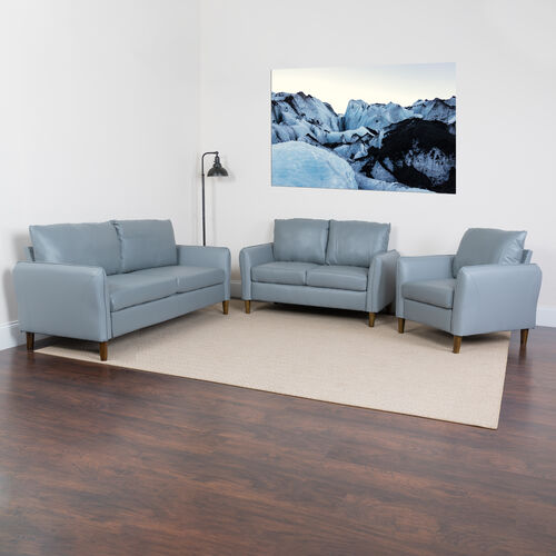 Our Milton Park Upholstered Plush Pillow Back Chair, Loveseat and Sofa Set in Gray LeatherSoft is on sale now.