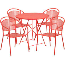 """Commercial Grade 30"""" Round Coral Indoor-Outdoor Steel Folding Patio Table Set with 4 Round Back Chairs"""