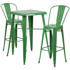 "Commercial Grade 23.75"" Square Green Metal Indoor-Outdoor Bar Table Set with 2 Stools with Backs"