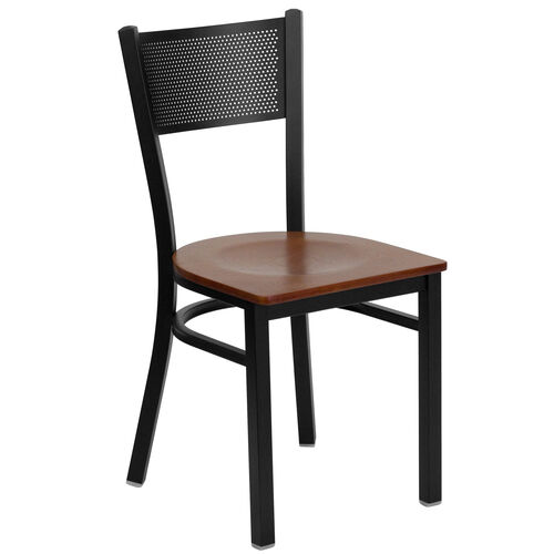 Our Black Grid Back Metal Restaurant Chair with Cherry Wood Seat is on sale now.