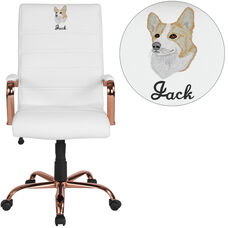 Embroidered High Back White Leather Executive Swivel Office Chair with Rose Gold Frame and Arms