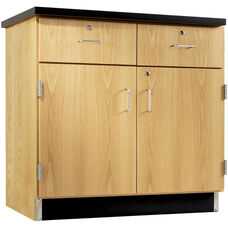 Science Lab Wooden Base Cabinet with 2 Locking Doors and Drawers - 36