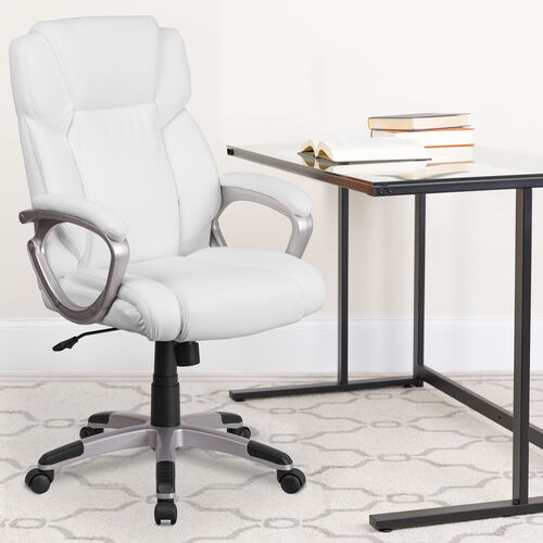 Our Mid-Back White LeatherSoft Executive Swivel Office Chair with Padded Arms is on sale now.