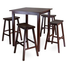 Parkland 5-Pc High Table Set with 4 Saddle Seat Stools