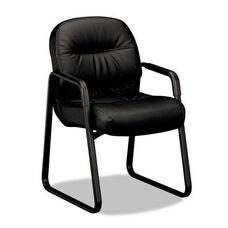 HON® 2090 Pillow-Soft Series Leather Guest Arm Chair - Black