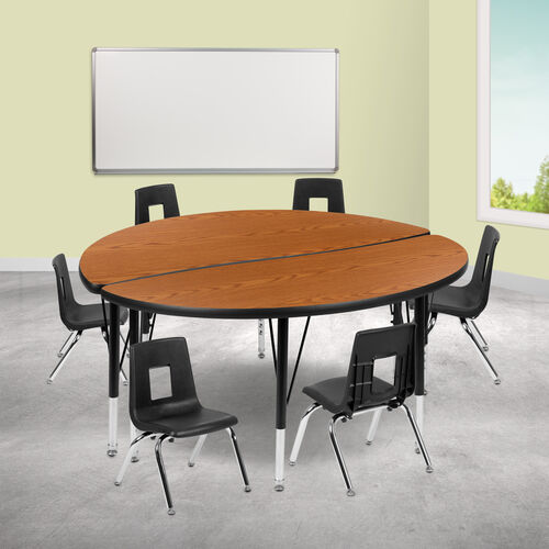 "Our 47.5"" Circle Wave Collaborative Laminate Activity Table Set with 12"" Student Stack Chairs, Oak/Black is on sale now."