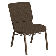 Embroidered 18.5''W Church Chair in Martini Chocolate Fabric with Book Rack - Gold Vein Frame