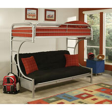 Eclipse Twin Over Full Futon C - Style Metal Bunk Bed - with Built In Side Ladder - Silver