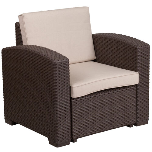 Our Chocolate Brown Faux Rattan Chair with All-Weather Beige Cushion is on sale now.