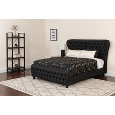 Cartelana Tufted Upholstered Queen Size Platform Bed in Black Fabric and Gold Accent Nail Trim with Memory Foam Mattress