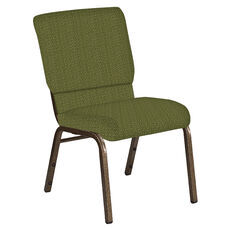 Embroidered 18.5''W Church Chair in Old World Chablis Fabric - Gold Vein Frame