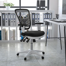 Mid-Back Black Mesh Multifunction Executive Swivel Ergonomic Office Chair with Adjustable Arms and White Frame