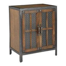 Inspired By Bassett Barcelona 2 Door Console in Alder Finish with Rustic Metal