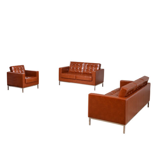 "Our HERCULES Lacey Series Reception Set in Cognac LeatherSoft with <span style=""color:#0000CD;"">Free </span> Tables is on sale now."