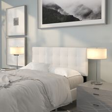 Bedford Tufted Upholstered Full Size Headboard in White Fabric