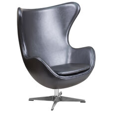 Gray LeatherSoft Egg Chair with Tilt-Lock Mechanism