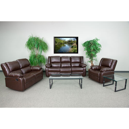 Our Harmony Series Brown LeatherSoft Reclining Sofa Set is on sale now.