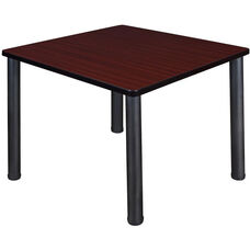 Kee 36'' Square Laminate Breakroom Table with PVC Edge - Mahogany with Black Legs