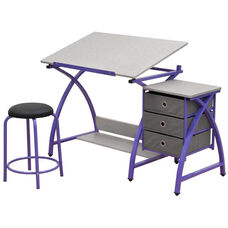 Comet Craft and Storage Center with Stool - Purple and Splatter Gray