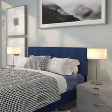 Bedford Tufted Upholstered Queen Size Headboard in Navy Fabric
