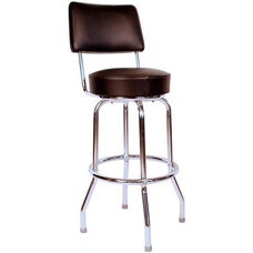 Retro Style Chrome Frame 30''H Swivel Bar Stool with Backrest and Padded Seat - Black Vinyl