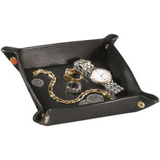 Luxury Travel Valet Catchall Tray - Top Grain Nappa Leather - Black