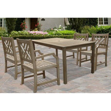 Renaissance Outdoor 5 Piece Hand-Scraped Wood Dining Set with Table and 4 Herringbone Back Armchairs