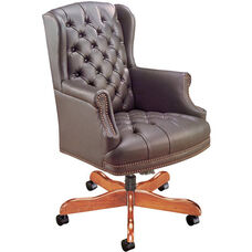 Quick Ship Traditional Series Tufted Wing Back Swivel Chair